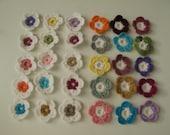 Crochet flowers,Crochet Applique Flowers ,30 pcs,blue,white,yellow,brown,green,red,purple,orange