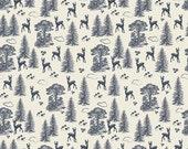 Deer Fabric, Woodland Springs Fabric, Blue fabric, Woodland Creature Fabric, Riley Blake, Woodland Friends Navy, Choose the Cut