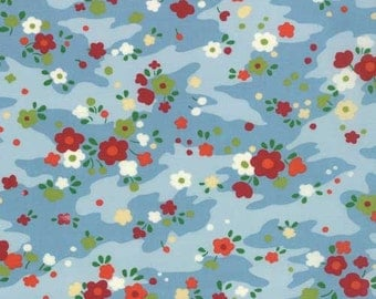 SALE fabric, 6 dollars per yard, Chirp Chirp by Momo for Moda fabrics, Blue fabric, Floral fabric, Quilting fabric, Choose your cut