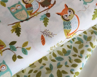 SALE fabric, Modern fabric, Hipster, Cotton fabric by the yard, Nursery fabric, Owl fabric, Robert Kaufman, Bundle of 2- Choose the Cut