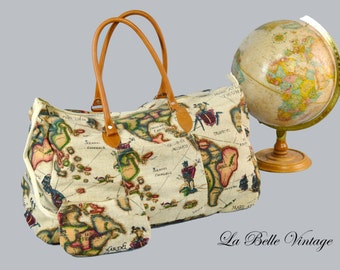 Novelty World Print Travel Bag Vintage Luggage Retro Overnight Bag