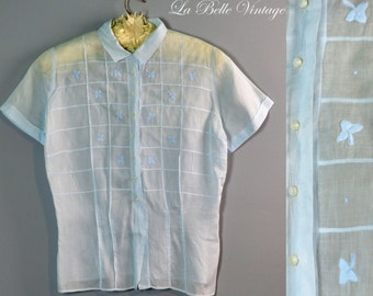 Vintage 1950s Sheer Blue Pintuck Tailored Shirt Blouse ~ Embroidered Flowers