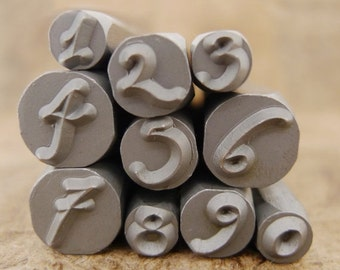 Fonts on Sale DANIELA - Numbers -  in wooden storage box - letters range in size from 3-6.6mm - includes How to Stamp Metal tutorial