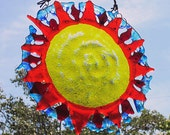Fused Glass Sunburst Vibrant Sun Suncatcher
