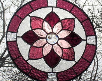 Stained Glass Shades of Purple Round Starburst Mandala Suncatcher with Center Faceted Jewel