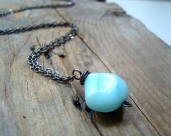 Blue Opal Teardrop Necklace, Oxidized Sterling Silver October Birthstone Ocean Blues Gifts Under 50 Gemstone Jewelry Aqua Blue Tropical