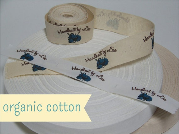 Your Custom Labels Printed in Full Color on Organic Cotton Twill Ribbon  -  LOTS of Designs to Choose from OR Use Your Logo - 2 Yards