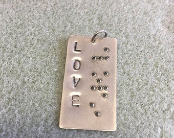 "Hand Stamped Braille Pendant ""Love"" Copper Brass and Nickel Silver"