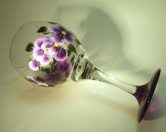 Hand Painted Purple Violets Wine Glass
