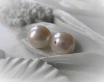 Freshwater Pearl  Bead Pair Potato Pearl Silver Grey Bridal Pearl Item No. 1071 3938
