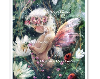 Little Woodland Fairy , Colorful, 11x14 Print from original art