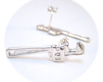Pipe Wrench Stud Earrings, Wrench Earrings, Tiny Tool Jewelry