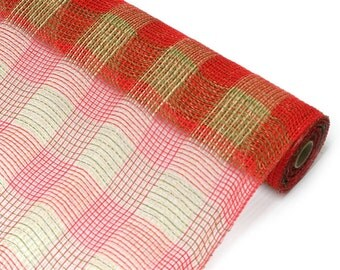 "Moss Natural Red Plaid Fabric Mesh 21"" - New Deco Mesh Fabric - XB985-08"