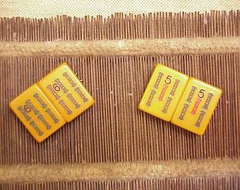 2 mah jong bakelite hair barrette's butterscotch 1111