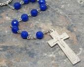 Irish Penal Chaplet of Royal Blue Agate Gemstone, Irish Penal Rosary, Tenner Chaplet