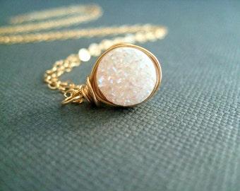 Mini White Druzy Necklace  Gold Amaretto druzy pendant necklace Gift for her under 45 Vitrine