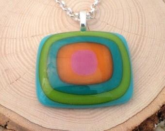Colorful Fused Glass Pendant Design. Bullseye Design. Handmade Glass Jewelry. Fused Glass Pendant. Modern Jewelry. Trendy Jewelry.