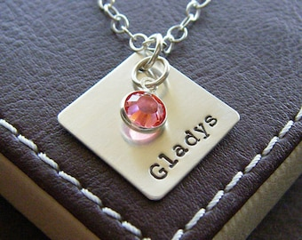 """Personalized Diamond Charm Necklace – Custom Hand Stamped Sterling Silver – Single 3/4"""" Diamond Pendant with Optional Birthstone or Pearl"""