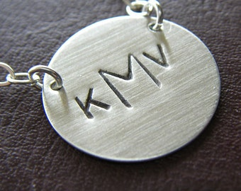 Custom Monogram Necklace - Personalized Sterling Silver Hand Stamped Charm Jewelry - Connect Monogram