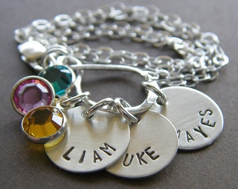 """Personalized Bracelet - Custom Infinity Bracelet - Sterling Silver Hand Stamped Double Strand Jewelry - 1/2"""" Charms with Optional Birthstone"""