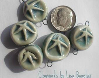 Five Porcelain Opal Blue Star Components