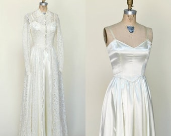 30% OFF 1950s Wedding Gown --- Vintage Wedding Dress with Lace Jacket