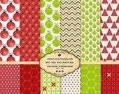 Ho Ho Ho Digital Paper pack for Christmas invites, card making, digital scrapbooking
