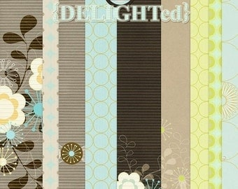 Digital Papers for scrapbooking, card making -  Delighted