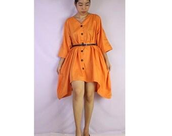 Orange Cotton  Front Coconut Shell button Loose V-Neck Tunic (TU 01)