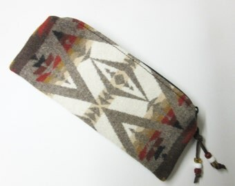 Zippered Pouch Pencil Case Accessory Organizer Cosmetic Pouch Make Up Bag Southwest Blanket Wool