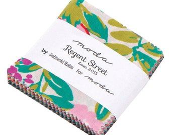SALE 40% OFF SQ63 Moda Regent Street Lawn 2015 Precut MINI Charm Pack Fabric Quilting Cotton Squares Sentimental Studios 33080MC