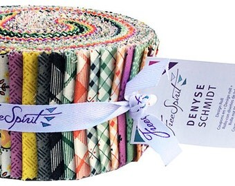 """40% Off + Free Ship SALE Denyse Schmidt EASTHAM Design Roll 2.5"""" Precut Fabric Strips Jelly Free Spirit"""