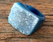 Dara Ettinger Sample Sale One of A Kind Blue Geode Ring sz 5 see coupon