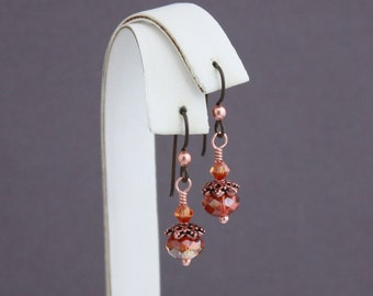 Brown Niobium with copper accents Red Magma hypo allergenic earrings