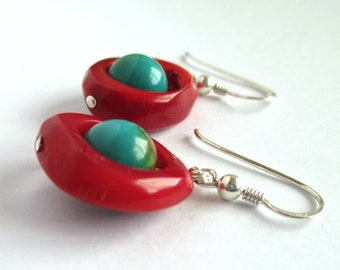 Natural Turquoise and Coral Frames Sterling Silver Earrings Colorful Red Blue Green Playful Boho round artisan contemporary handmade jewelry