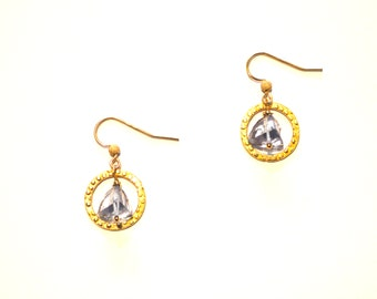 Blue Gold Hoop Earrings / Blue Pyramid Earrings / 14k Gold Geometric Earrings with Blue Pyramid Cut Tanzanite Gemstones and Gold Hoops