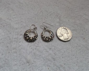 Pair of Vintage Sterling Silver and Gold Wash Hanging Earrings