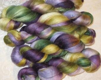 Handpainted Roving -- Silk and Merino Wool