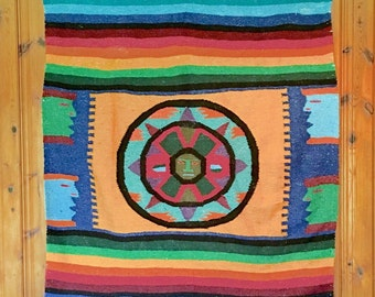 EXTRA LARGE Vintage mexican southwest throw blanket or rug rustic indian cabin decor wall hanging red yellow black  indian