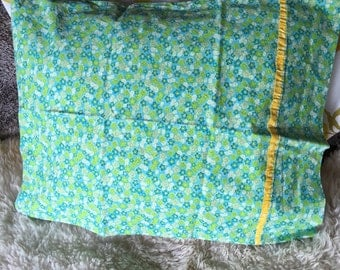 Vintage green blue flowers yellow  floral pillowcase ONE standard size
