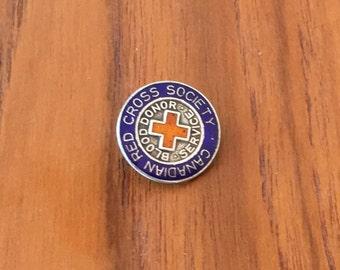 925 & enamel red cross blood donor pin