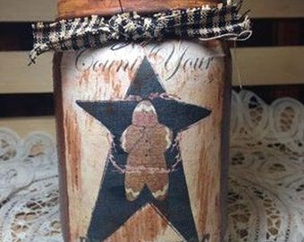 Candles Candle Primitive Grungy Pint Jar, Count Your Blessings Gingerbread Man Moeggenborg Sugar Bush