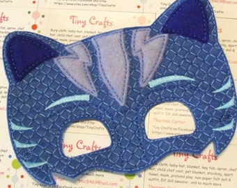Pajama Hero Blue Catboy inspired felt mask for dress up or Halloween Costume Pretend Play Imagination Education party favor