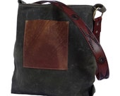 Recycle Leather Canvas Bag, Green Waxed Canvas Bag, Recycled Leather, Green Shoulder Bag