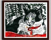 Cat On Bed, Linocut Print, Block Print, Linoleum Print, Relief Art Print, Lino Cut Print, Art Print, Wall Art, Sale, Gift, Art, Gift Idea