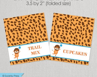 Zoo Animal Party - Food Tent - Party Animal themed foldable Food Label - Printable DIY with fully editable text