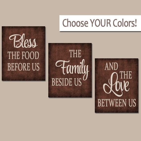 Kitchen wall art canvas or prints kitchen quote decor bless for Art prints for kitchen wall