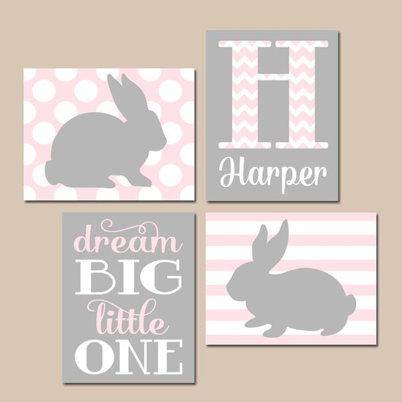 Grey Girl Wall Decor : Girl bunny nursery wall art pink gray baby rabbit