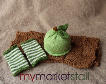 Green Apple Baby Hat and Legwarmers - 0-3 Months - Ready to Ship