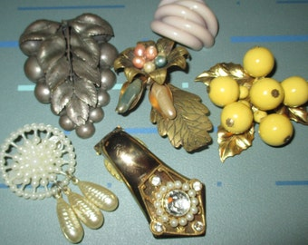 Last Call.....Vintage FAB Art Deco Flower Leaf Motif Dress Clip Pin Jewelry LOT